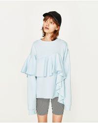 Zara   Blue Frilled Sweatshirt   Lyst