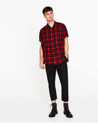 Zara | Red Oversized Check Shirt for Men | Lyst