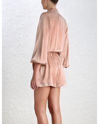 Zimmermann - Pink Wrap Silk Playsuit - Lyst