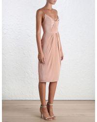 Zimmermann - Pink Pleated Silk Mini Dress - Lyst