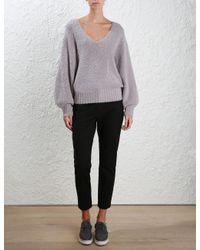Zimmermann - Gray Stranded Fluffy Knit Sweater - Lyst