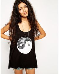 Asos Scoop Back Tank With Flocked Ying Yang Print - Lyst
