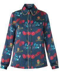 House of Holland Giddy Up-Print Silk Shirt blue - Lyst