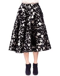 Lanvin Floral Fil Coup Seamed Tiered Skirt - Lyst