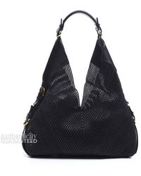 Ferragamo Pre-owned Black Perforated Leather Hobo Bag - Lyst