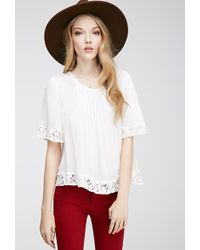 Forever 21 Pintucked Floral-Embroidered Top - Lyst