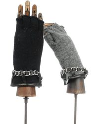 Carolina Amato Cashmere Fingerless With Leather/Chain Trim - Lyst