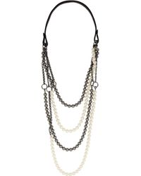 Vickisarge - Chain Reaction Gunmetal-Plated, Swarovski Pearl And Leather Necklace - Lyst