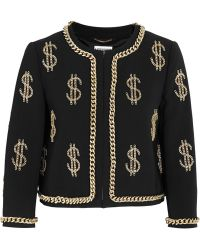 Moschino Dollar Sign Chain-embellished Crepe Jacket - Lyst