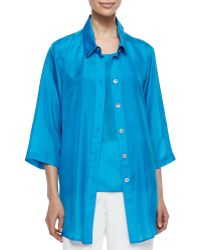 Caroline Rose Long Tissue Silk Shirt - Lyst