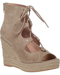 J/slides Colette Platform Wedge Sandal Beige Suede brown - Lyst