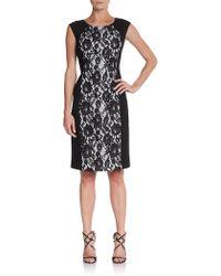 Lafayette 148 New York Lace Paneled Sheath Dress - Lyst