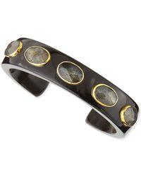 Ashley Pittman Kifari Dark Horn Cuff with Labradorite - Lyst