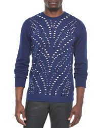 Versace Perforated Crewneck Sweater - Lyst