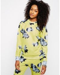 Hype - Oversized Sweatshirt With Washed Out Floral Print Co-ord - Lyst