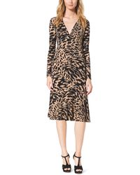 Michael Kors Ikat-Print Stretch-Jersey Wrap Dress - Lyst