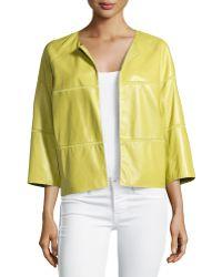 Lafayette 148 New York Georgette-Trimmed Leather Jacket - Lyst