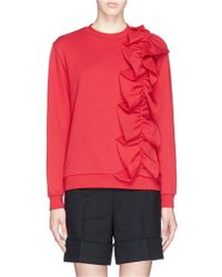 Nicopanda Ruffle Appliqué Side Sweatshirt red - Lyst