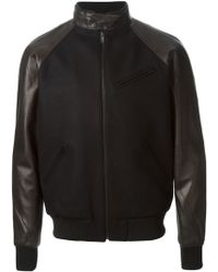 Surface To Air - Leather Sleeves Bomber Jacket - Lyst