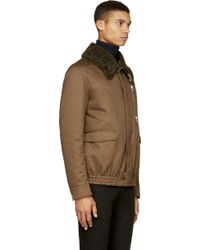 Moncler Gamme Rouge - Brown Shearling Collar Bomber Jacket - Lyst