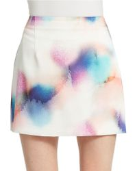 French Connection Spray Paint Mini Skirt - Lyst