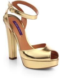 Ralph Lauren Collection Valeria Patent-Leather Peep-Toe Pumps - Lyst