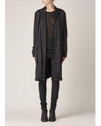 Ann Demeulemeester   Black Silksat Coat   Lyst
