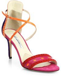 Brian Atwood Melba Patterned Suede and Leather Sandals - Lyst