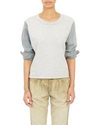 Bliss and Mischief - Denim-Sleeve Sweatshirt - Lyst
