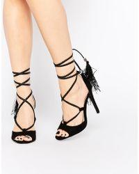 Daisy Street - Black Tassel Ghillie Lace Up Heeled Sandals - Lyst