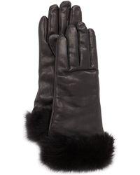 Grandoe - Furcuffed Leather Gloves Black - Lyst