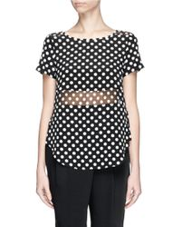 Elizabeth And James 'Windsor' Polka Dot Chiffon Panel Silk Top - Lyst