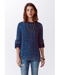 Faherty Brand True Indigo Cable Sweater - Lyst