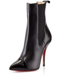 Christian Louboutin Tucson Cap-Toe Red Sole Ankle Boot - Lyst