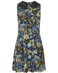 Topshop Floral Print Overlay Dress - Lyst