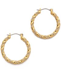 Giles & Brother Encrusted Twist Hoop Earrings - Goldclear - Lyst