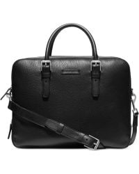 Michael Kors Bryant Pebbled-Leather Large-Gusset Briefcase - Lyst