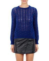 Saint Laurent Open-Knit Sweater blue - Lyst