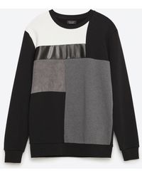 Zara | Faux Leather And Faux Suede Sweatshirt | Lyst
