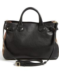 Burberry 'Medium Banner' House Check Leather Tote - Lyst