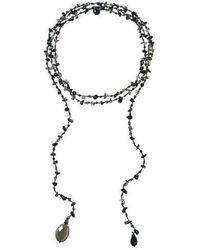 Aeravida | Sparkling Aura Black Onyx-smokey Quartz Lariat Necklace | Lyst