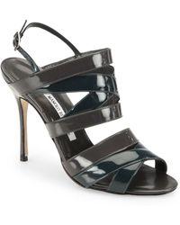 Manolo Blahnik Mimkemalany Bicolor Patent Leather Sandals - Lyst
