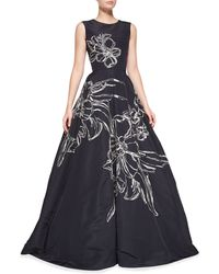Oscar de la Renta Sleeveless Floral-embroidered Gown - Lyst