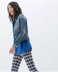 Zara Blue Denim Jacket - Lyst