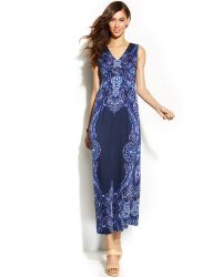 Inc International Concepts Sleeveless Printed Ruched Maxi Dress - Lyst