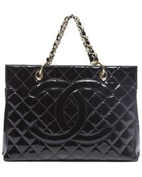 Chanel Preowned Patent Large Timeless Shopper Tote - Lyst