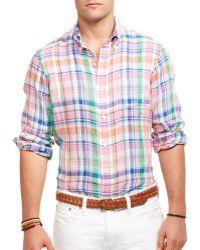 Ralph Lauren Polo Plaid Linen Shirt - Lyst