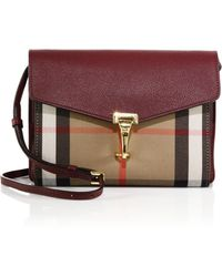 Burberry | Macken Small House Check & Leather Crossbody Bag | Lyst