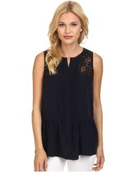 Rebecca Taylor Sleeveless Silk Lace Top - Lyst