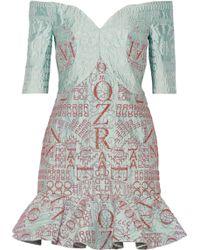 Mary Katrantzou De Bau Glitter-Embellished Alphabet-Jacquard Mini Dress - Lyst